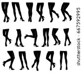 set of vector silhouettes of... | Shutterstock .eps vector #667592995