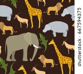 african animals. vector pattern