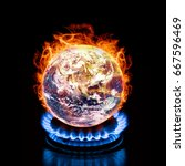 a burning earth. elements of... | Shutterstock . vector #667596469
