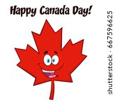 happy canadian red maple leaf... | Shutterstock .eps vector #667596625
