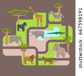 animals living in africa  a... | Shutterstock .eps vector #667598191