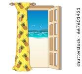 opened frame door with a view... | Shutterstock .eps vector #667601431
