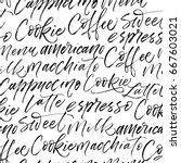 seamless coffee pattern. coffee ... | Shutterstock .eps vector #667603021