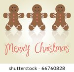 christmas card with gingerbread ... | Shutterstock .eps vector #66760828