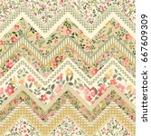 seamless floral patchwork... | Shutterstock .eps vector #667609309