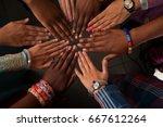 hands of happy group of african ... | Shutterstock . vector #667612264