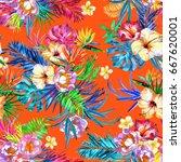 tropical floral vivid tropical...   Shutterstock . vector #667620001