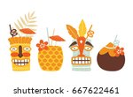 vector tiki cocktails... | Shutterstock .eps vector #667622461