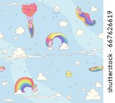 vector cute seamless pattern.... | Shutterstock .eps vector #667626619
