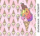 unicorn ice cream pattern   Shutterstock .eps vector #667626649