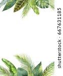 watercolor rectangular frame...   Shutterstock . vector #667631185