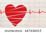 heart with electrocardiogram... | Shutterstock . vector #667636015