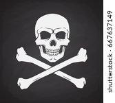 silhouette of skull jolly roger ... | Shutterstock .eps vector #667637149