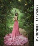 the elf walks in the garden. a... | Shutterstock . vector #667640839