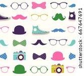 vector seamless hipster... | Shutterstock .eps vector #667647691