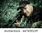 The Man Holding A Gun K44 And...