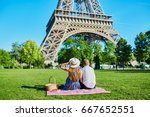 romantic couple having picnic... | Shutterstock . vector #667652551