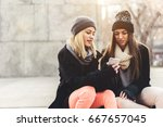 two girls hanging out in some... | Shutterstock . vector #667657045
