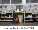 workbench with many tools... | Shutterstock . vector #667657801