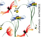 seamless pattern with wild... | Shutterstock . vector #667662811