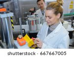 happy female scientist working... | Shutterstock . vector #667667005