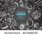 lunch top view frame. food menu ... | Shutterstock .eps vector #667668235