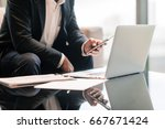 business man work with phone... | Shutterstock . vector #667671424