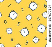 seamless pattern with alarm... | Shutterstock .eps vector #667677529
