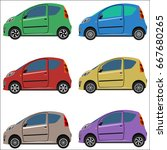 set of flat cars. isolated on... | Shutterstock .eps vector #667680265