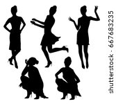 black fashionable women... | Shutterstock .eps vector #667683235
