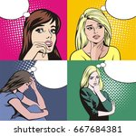 woman with thinking bubble  pop ... | Shutterstock .eps vector #667684381