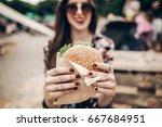 tasty burger. stylish hipster...   Shutterstock . vector #667684951