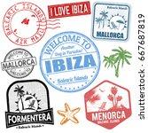 set of travel grunge stamps... | Shutterstock .eps vector #667687819