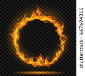 ring of fire flame on... | Shutterstock .eps vector #667694311