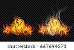 fire flame with smoke and... | Shutterstock .eps vector #667694371