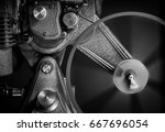 black and white image of an old ... | Shutterstock . vector #667696054