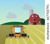 combine harvester a vector... | Shutterstock .eps vector #667703791