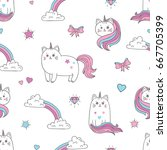 Stock vector cute cats unicorns seamless pattern vector background for kids design 667705399