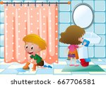 boy and girl cleaning bathroom... | Shutterstock .eps vector #667706581