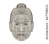 illustration of a maori face... | Shutterstock . vector #667708411