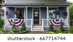 a porch with patriotic... | Shutterstock . vector #667714744