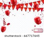 red balloons  vector... | Shutterstock .eps vector #667717645