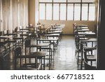 soft focus row lecture chairs... | Shutterstock . vector #667718521