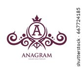 monogram logo template with... | Shutterstock .eps vector #667724185