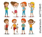 set of happy kids cartoon | Shutterstock .eps vector #667724845