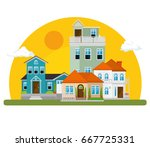 colorful houses in neighborhood  | Shutterstock .eps vector #667725331