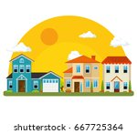 colorful houses in neighborhood  | Shutterstock .eps vector #667725364