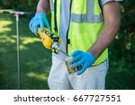 geologist worker taking... | Shutterstock . vector #667727551