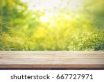 empty of wood table top on blur ... | Shutterstock . vector #667727971