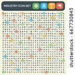 industry icon set clean vector | Shutterstock .eps vector #667730845